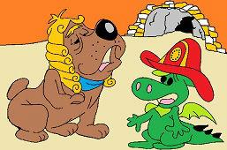 Perro bulldog y el dragón