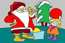 Papá Noel y chica