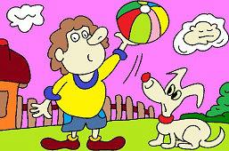 Muchacho con el globo y el perro
