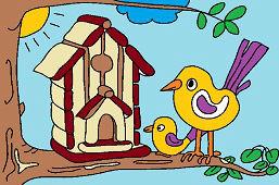 Aves y casa nueva