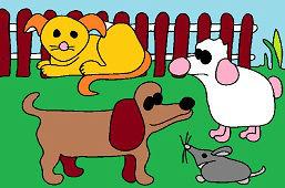 Los animales en el patio