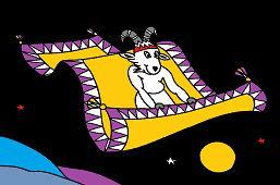 Cabra y alfombra voladora